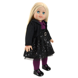 Doll with black dress 18 inch vinyl doll country doll